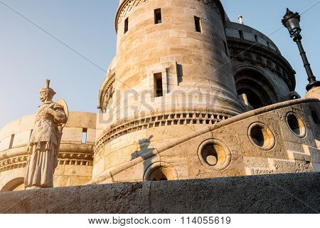 tower and walls of Fishermen Bastion with a statue of a fisherman