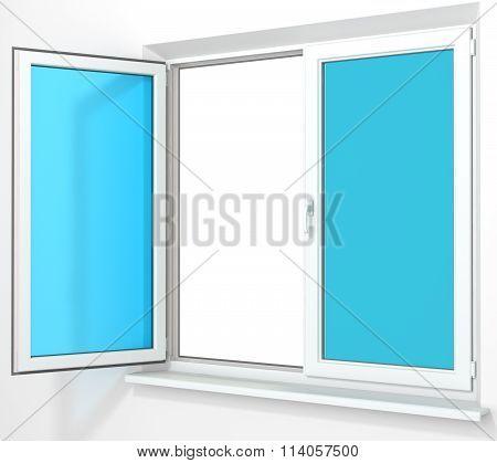White PVC plastic double door window isolated on white