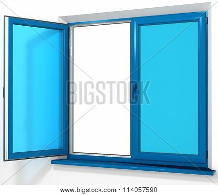 Colored PVC laminated plastic double door window  isolated on white