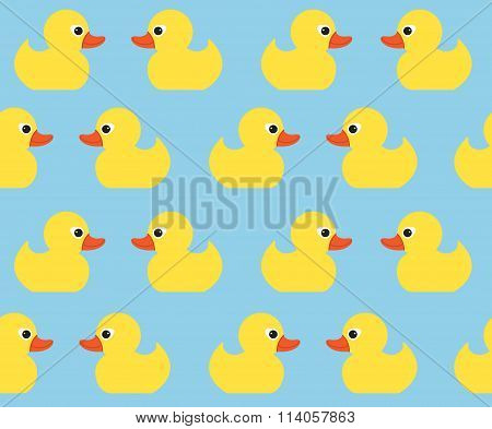 Seamless Vector Pattern With Cute Bright Yellow Ducks. Duck Toy Baby Shower Illustration. For Cards,