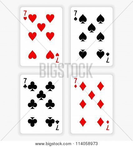 Playing Cards Showing Sevens From Each Suit