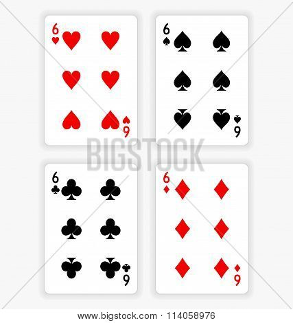 Playing Cards Showing Sixes From Each Suit