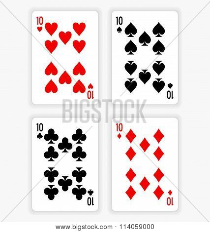 Playing Cards Showing Tens From Each Suit