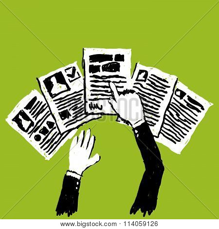 Person Choosing Documents