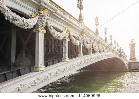 Historic Bridge (pont Alexandre Iii) Over The River Seine In Paris, France.