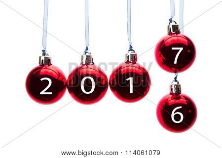 Red Christmas Balls Transition Old To New Year 2017