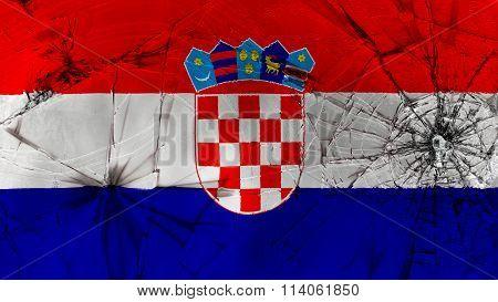 Flag of Croatia, Croatian flag painted on broken glass