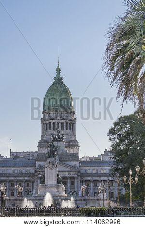 Distant View Of Congress Palace In Buenos Aires Argentina