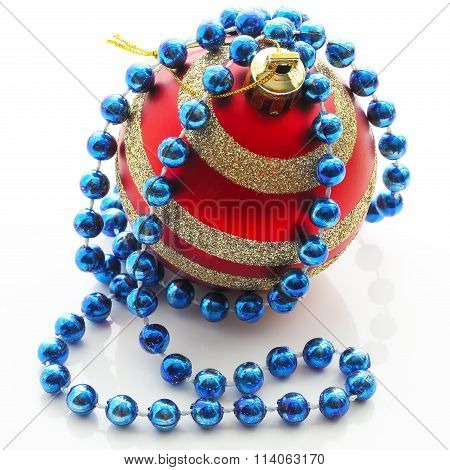 Single Decoration Ball With Red Beads Over White