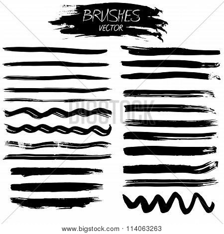 Set Of Grunge Vector Ink Strokes Or Brushes
