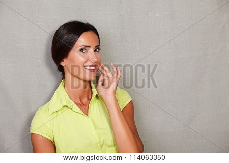 Smiling Beautiful Woman With Hand On Face