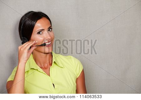 Charismatic Call Center Lady On Headset