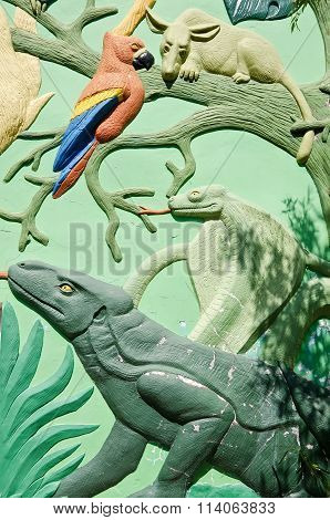 Sculptures Of Animals On The Building In Yalta Zoo