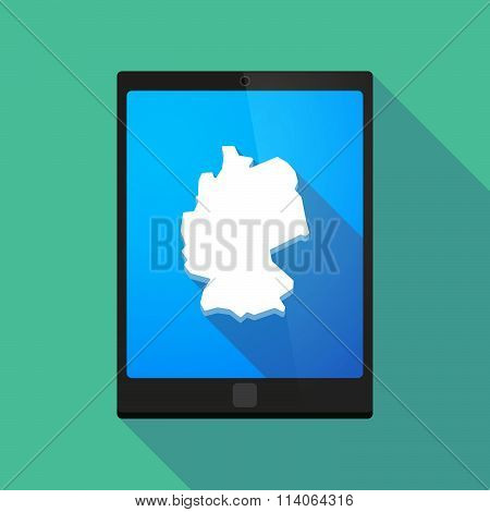 Long Shadow Tablet Pc Icon With  A Map Of Germany