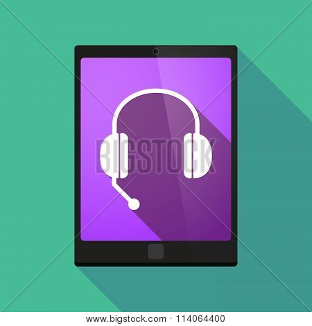 Long Shadow Tablet Pc Icon With  A Hands Free Phone Device