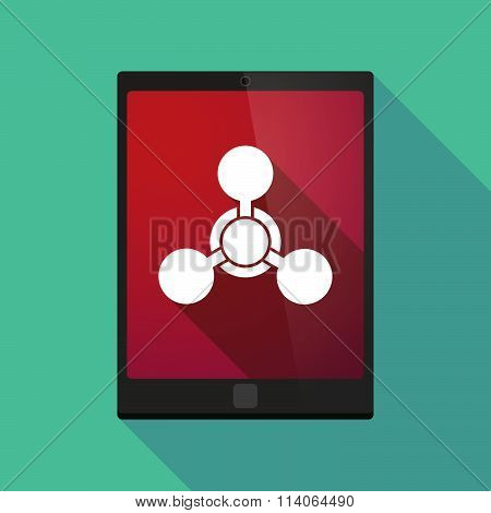 Long Shadow Tablet Pc Icon With A Chemical Weapon Sign
