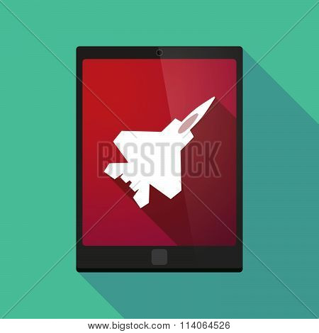 Long Shadow Tablet Pc Icon With A Combat Plane