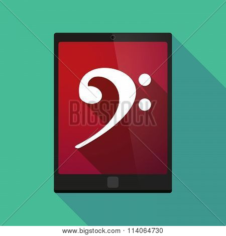 Long Shadow Tablet Pc Icon With An F Clef