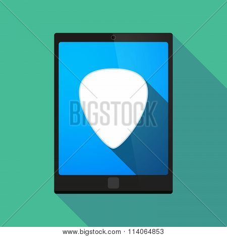 Long Shadow Tablet Pc Icon With A Plectrum