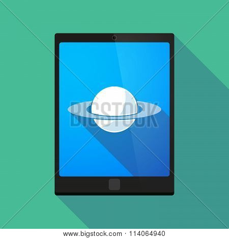 Long Shadow Tablet Pc Icon With The Planet Saturn