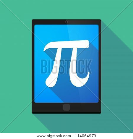 Long Shadow Tablet Pc Icon With The Number Pi Symbol