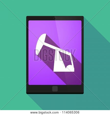 Long Shadow Tablet Pc Icon With A Horsehead Pump