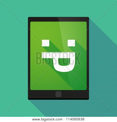 Long Shadow Tablet Pc Icon With A Sticking Out Tongue Text Face