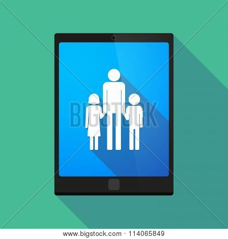 Long Shadow Tablet Pc Icon With A Male Single Parent Family Pictogram