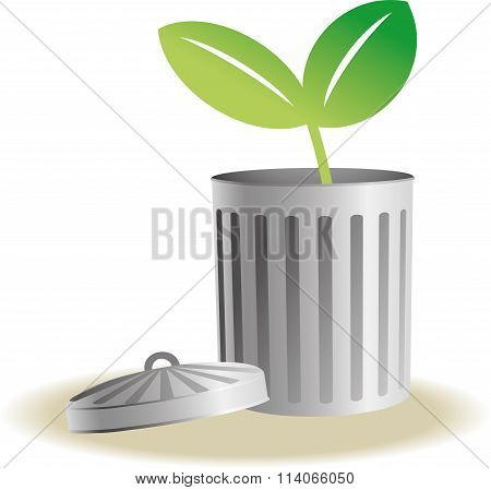Trash bin with plants
