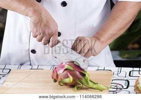 Chef Cutting Dragon Fruit