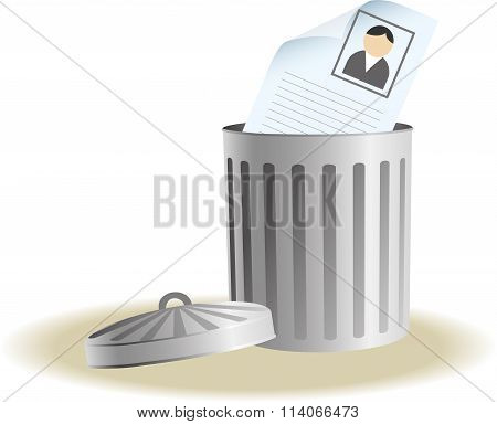 Trash bin with business signs