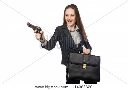 Woman in business concept isolated on white