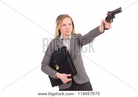 Pretty employee with handgun isolated on white