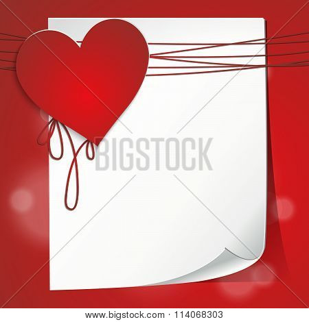 Valentine's Card With Sheet Of Paper