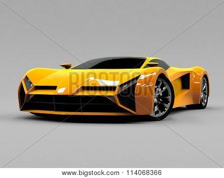 Orange sports car premium. Conceptual design. A prototype of fast transport of the future. Advanced