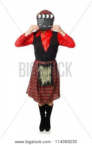 Funny woman in scottish clothing with movie board