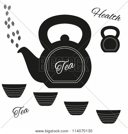 Fully Vector Teapot Made From Kettlebell With Kettlebell And Set Of Cups