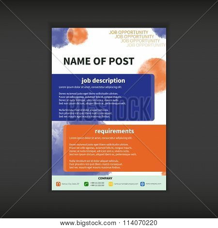 Job Opportunity Template With Watercolor Effect