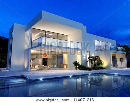 luxurious villa with swimming pool at dusk