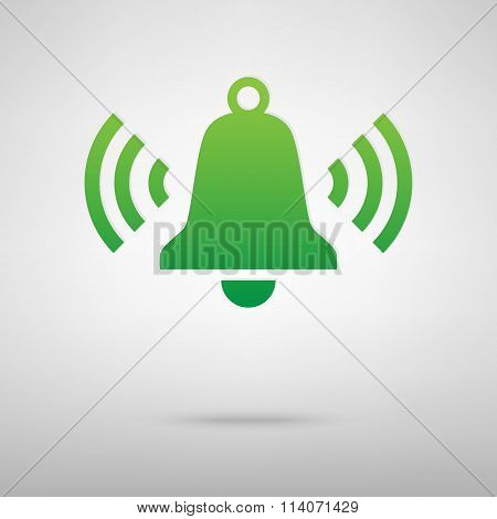 Ringing bell. Green icon with shadow