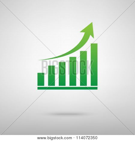 Growing graph. Green icon