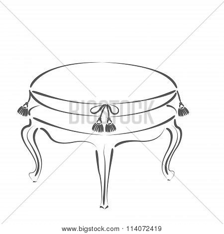 Sketched stool banquette