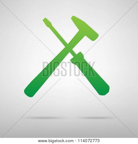 Tool symbol. Green icon