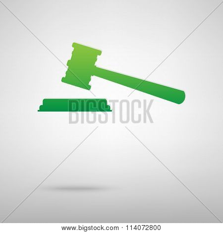 Justice hammer. Green icon