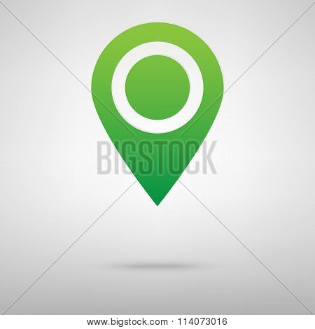 Map pointer with information icon.