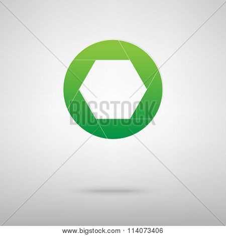 Photo. Green icon with shadow