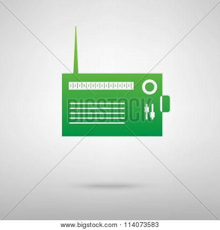 Radio silhouette. Green icon