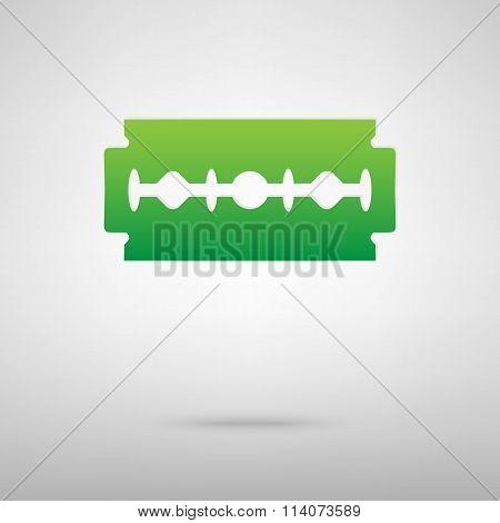 Razor blade. Green icon