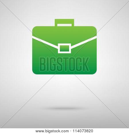 Briefcase. Green icon