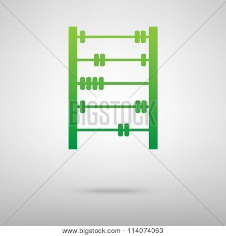 Old retro abacus. Green icon